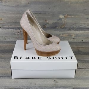 Blake Scott Nellie Platform Pumps Fabric Wood Heel